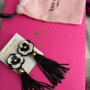 Kate Spade Rosy Posies Tassle Earrings Black White